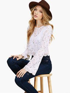 2016 autumn elegant Blouses Blusas Feminina Lace Goddess flare Sleeve white transparent short Shirt crop tops women no lining Sheer Lace Top, Looks Chic, Lace Crop Tops, Cropped Tops, Short, Blouses For Women, Ideias Fashion, Pullover, Clothes