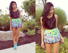 Black Satin Tank + Tropical Butterfly Shorts + Blue Suede Wedges