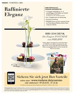 Zielgruppen-Abowerbung für die Zeitschrift MADAME  –  Werbemittel: 1/1-Anzeige, Heftwerbung, Angebot: Prämienabo, Response-Aktivierung über Deeplink, QR-Code, Hotline und Email-Adresse,  © Montana Medien, Hamburg - April 2016 – Bestellen Sie #MADAME unter www.madame.de/praemien #Direktmarketing, #Print, #Verlage, #CRM, #Dialogmarketing, #Abomarketing, #Abowerbung, #Aboanzeige, #Abonnement, #Madame-Verlag, #MontanaMedien