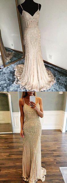 Champagne mermaid long prom dress, evening dress – trendty