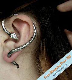 Snake Earring(1PC),Snake Wrapping Earring,Snake Ear Cuff,Snake Cuff,Fake Gauge,Ouroboros,Snake gauge,Faux Gauge,Punk Snake Ear Cuff.E964613 on Etsy, $6.16