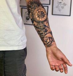 Half Sleeve Tattoos Forearm, Realistic Tattoo Sleeve, Lower Arm Tattoos, Forearm Band Tattoos, Lion Tattoo Sleeves, Wolf Tattoo Sleeve, Half Sleeve Tattoos For Guys, Forarm Tattoos, Best Sleeve Tattoos
