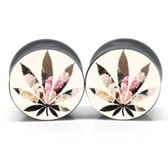 Floral Canabis Ear Plugs-I like this idea, not the cannabis part but the floral silhouette