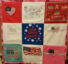 Handmade Little Girlie Patriot T-shirt blanket/quilt throw 100 % cotton sashing  #Handmade #Sports