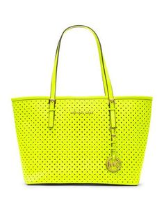 In the limelight. MICHAEL Michael Kors  Small Jet Set Perforated Travel Tote.