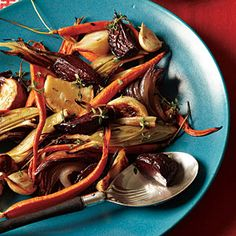 Roasted Winter Vegetables  ||    Use any combination of vegetables you like for this riotously colorful side dish. To ensure all the vegetables are done at the same time, place the second pan in the oven after the first pan has been in for 20 minutes. {Menu plan: http://www.myrecipes.com/menu/southern-new-years-day-menu-00420000002438/}