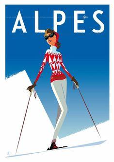 Skifahren in den Alpen - Art and Photographs - Ski Ski Vintage, Vintage Ski Posters, Vintage Winter, Snowboard, Winter Illustration, Art Deco Illustration, Vintage Illustrations, Skier, Poster Photography