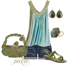 Green and blue summer, created by jackie22 on Polyvore