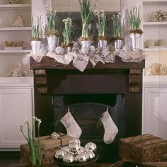 Coastal Living: Go for the Gold (and Silver, Too): A whimsical metallic-and-white display blends easily into a room sparse in color. Spread gold wire mesh and silver beaded garland across a mantel. Fill galvanized tins with blooming paperwhites. For a finishing touch, intersperse glitter-dipped or spray-painted pinecones. Gold fabric and galvanized tins available at craft supply stores.