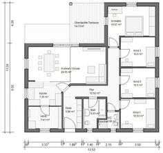 BGXL3 Winkelbungalow Grundriss 112qm 4 Zimmer Wenn man Garderobe/Eingang und Bad tauscht, gewinnt man ein paar Quadratmeter...