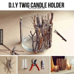 DIY twig candle holder, for that chalet feelDIY Twig Candle Holder- Very Pretty And Creative - SalvabraniThese DIY twig candle holders are absolutely adorable and can be used in almost any theme if you know how to play it up right. Rustic Candles, Rustic Candle Holders, Diy Candles, Diy Candle Holders Christmas, Driftwood Candle Holders, Making Candles, Homemade Candles, Christmas Candles, Rustic Christmas