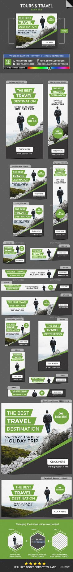 Tours & Travel Banners Template PSD. Download here: https://graphicriver.net/item/tours-travel-banners/17388980?ref=ksioks