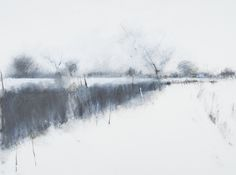 Hannah Woodman, 'Winter Fields, Kestle barton' Graphite, Oil & Gesso on paper 57 x Painting Snow, Painting & Drawing, Landscape Drawings, Landscape Paintings, Garden Drawing, Tinta China, The Draw, Winter Landscape, Sky Landscape