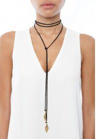 Vanessa Mooney Gold Diamond Wrap Choker in Black