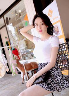 Cut Out Top, Sheer Material, Basic Tops, Asian Beauty, Pretty Girls, Your Favorite, Korean, Short Sleeves, Slim