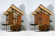 This 1,000 square-foot weekend cabin, basically a steel box on stilts, can be completely shuttered when the owner is away. Situated near a river in a floodplain, the 20' x 20' square footprint rises three stories and is topped by the living room/kitchen. Large, 10' x 18' steel shutters can be closed simultaneously using a hand crank. (Olson Kundig Architects)