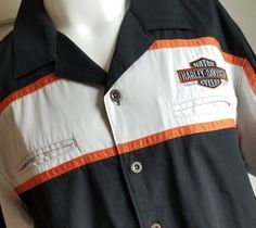 d5a71fab Harley Davidson XL Men's Embroidered Garage Shop Work Motorcycle Shirt # HarleyDavidson #ButtonFront Garage Shop