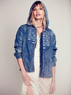 Baja Embroidered Denim Jacket,