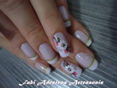 nails, uñas Crazy Nails, Fun Nails, Pretty Nails, Fingernail Designs, Flower Nails, French Nails, Nail Colors, Nail Art, Style