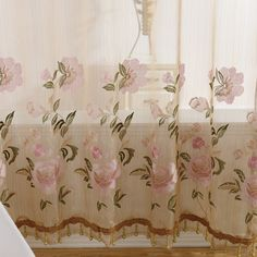 Pink flower curtains are beautiful. This sheer curtain is luxury and graceful. The flowers patterns are delicate and have good dimensional sense for the technology of embroidery. It can decorate your room and give you a delicate life. Sage Green Curtains, White Sheer Curtains, Floral Curtains, Leaf Flowers, Pink Flowers, Flower Curtain, Embroidered Leaves, Bird Embroidery, Star Flower