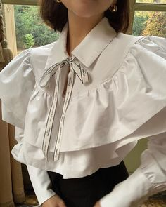 """@whoknowsfashion on Instagram: """"rp • @heyhegia @gentle.moscow poet shirt and one more way to wear a Chanel ribbon, in Paris. • #WKFLoves #fashion #chanel #vintage"""""""