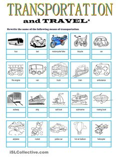 Transportation & Travel Vocabulary