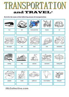 Transportation & Travel Vocabulary