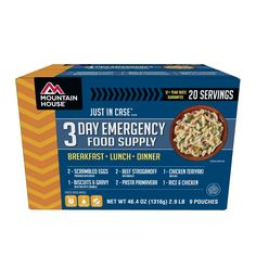 Just In Case...® 3 Day Emergency Food Supply This stackable 3-day boxed kit contains a variety of popular breakfast, lunch and dinner entrees for one person. Use it alone or combine it with other Just