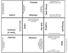 Non-Fiction Text Feature Magic Square - match the text feature with its purpose - free at TPT