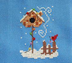 """Waiting for Santa"" by Helga Mandi Designs. Free sewing pattern graph: winter, bird, birdhouse."