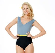 """One Piece Swimsuit  """"Polly""""- Grey and Yellow  Swimsuit  , sexy swimsuit,  one piece bathing suit , open back- womens swimwear"""