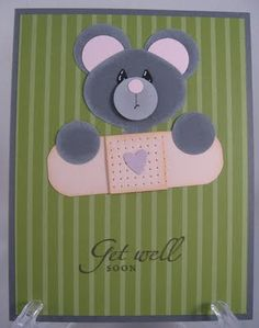 get well soon mouse punch art - bjl. Note that the bear consists of circles Feel Better Cards, Punch Art Cards, Paper Punch, Get Well Soon, Marianne Design, Get Well Cards, Sympathy Cards, Kids Cards, Cute Cards