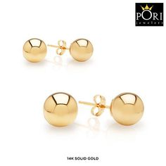 2 Pairs: 14-Karat Solid Gold Ball Stud Earrings - Assorted Styles at 90% Savings off Retail!