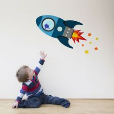 Flying rocket wall sticker