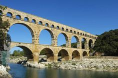Pont du Gard (UNESCO World Heritage Site), Provence, France - built shortly before the Christian era to allow the aqueduct of Nîmes (which is almost 50 km long) to cross the Gard river. The Roman architects and hydraulic engineers who designed this bridge, which stands almost 50 m high and is on three levels – the longest measuring 275 m – created a technical as well as an artistic masterpiece.