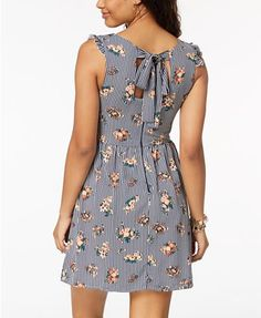 Sequin Hearts Juniors' Printed Tie-Back Dress - Navy Floral Stripe 11 Wrap Dress Outfit, I Dress, Dress Outfits, Junior Dresses, Girls Dresses, Summer Dresses, Casual Summer Outfits, Casual Dresses, New Dress Pattern
