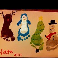 Inspiration for kids Christmas footprint art Preschool Christmas, Christmas Activities, Christmas Crafts For Kids, Christmas Projects, Winter Christmas, Kids Christmas, Holiday Crafts, Holiday Fun, Hand Print Christmas Cards