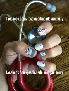This Nurse design was custom designed by me Jessica Edmonds. They are jamberry nail wraps, very easy to apply. Contact me today to order Facebook.com/jessicaedmondsjamberry