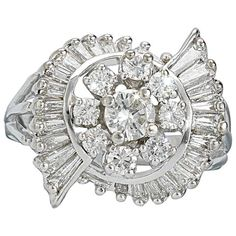 Stunning High Quality 14k Gold Brilliant and Baguette 1.60 cttw Carat G/H VS Diamond Cluster Ring