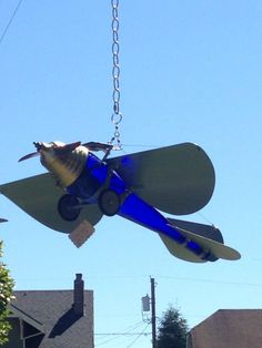 Solar Powered Trench Art Monoplane Recycled Art
