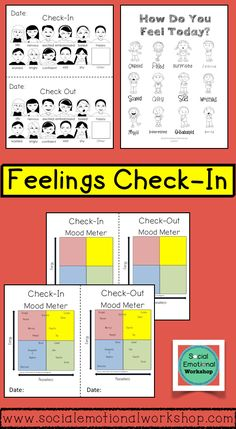 Feelings Check-In Activities and Feelings Chart with Digital Slides School Counseling Office, Elementary Counseling, School Social Work, School Counselor, Social Work Activities, Counseling Activities, Group Counseling, Social Emotional Development, Social Emotional Learning