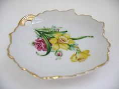 Vintage Leaf Shaped Trinket dish White with yellow and by Klassic, $8.00