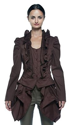 Womens Steampunk Victorian Gothic Edwardian Bustle Tailcoat Pleat Ruffle Blouse Medium Brown ** Check out the image by visiting the link. (This is an affiliate link) Steampunk Clothing, Steampunk Fashion, Steampunk Movies, Everyday Steampunk, Steampunk Festival, Frill Tops, Victorian Gothic, Amazing Women, Fashion Art