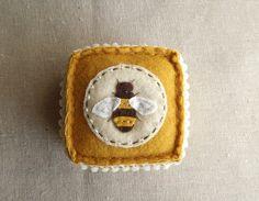 Embroidered Honey Bee Felt Pincushion, I love a good bumblebee!