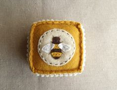 Embroidered Honey Bee Felt Pincushion