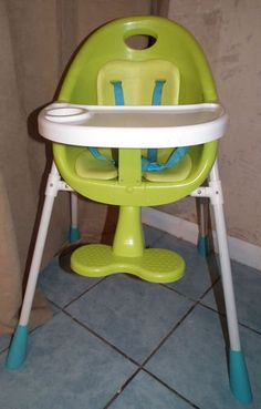 Mamas & Papas Baby High Chair White & Green Adjustable Modern |