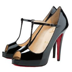 Christian Louboutin Burlina Black Patent Leather Peep Toe Pumps - $90.82