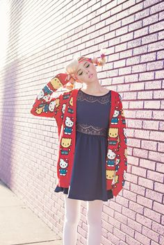 The Simpsons x Hello Kitty Collection by JapanLA Clothing: Hello Kitty Bart Simpsons Knit Cardigan, Coming December 2014