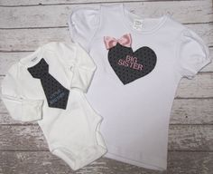 Big+sister+little+brother+shirt+and+onesie+set+tie+par+mmhandmades,+$40,95