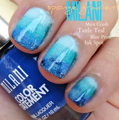 Milani Color Statement Nail Lacquer Sponge Gradient Nail Art via @blushingnoir